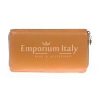 Portafoglio donna in vera pelle tradizionale SANTINI mod BIANCOSPINO colore MIELE Made in Italy.