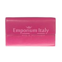 Portafoglio donna in vera pelle tradizionale SANTINI mod MARGHERITA colore FUCSIA Made in Italy.