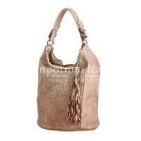 VIVIENNE : borsa donna a spalla, pelle morbida, vintage, colore: ROSA, Made in Italy