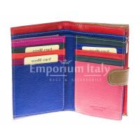 Portafoglio donna in vera pelle tradizionale SANTINI mod NINFEA colore MIELE Made in Italy.