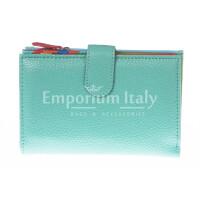 Portafoglio donna in vera pelle tradizionale SANTINI mod NINFEA colore AZZURRO Made in Italy.