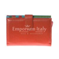 Portafoglio donna in vera pelle tradizionale SANTINI mod NINFEA colore ARANCIO Made in Italy.
