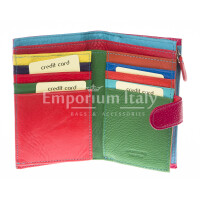 Portafoglio donna in vera pelle tradizionale SANTINI mod NINFEA colore FUCSIA Made in Italy.