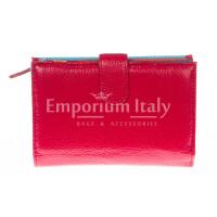 Portafoglio donna in vera pelle tradizionale SANTINI mod NINFEA colore ROSSO Made in Italy.