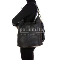 VIVIENNE : borsa donna a spalla, pelle morbida, vintage, colore: NERO, Made in Italy