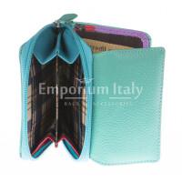 Portafoglio donna in vera pelle tradizionale SANTINI mod BEGONIA colore AZZURRO Made in Italy.