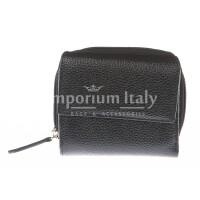 Portafoglio donna in vera pelle tradizionale SANTINI mod BEGONIA colore NERO Made in Italy.