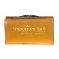 Portafoglio donna in vera pelle tradizionale SANTINI mod CLIVIA colore GIALLO Made in Italy.