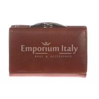 Portafoglio donna in vera pelle tradizionale SANTINI mod PETUNIA colore MARRONE Made in Italy.