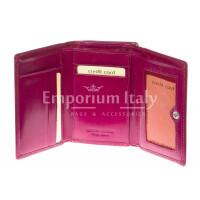 Portafoglio donna in vera pelle tradizionale SANTINI mod PETUNIA colore FUCSIA Made in Italy.