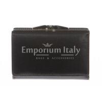 Portafoglio donna in vera pelle tradizionale SANTINI mod PETUNIA colore NERO Made in Italy.