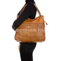 VANDA: borsa donna a spalla , pelle morbida, vitage, colore: MARRONE, Made in Italy