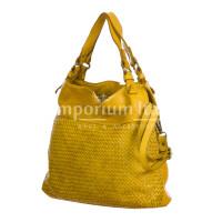 VANDA: borsa donna a spalla , pelle morbida, vitage, colore: GIALLO, Made in Italy