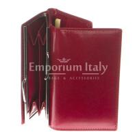 Portafoglio donna in vera pelle tradizionale SANTINI mod PETUNIA colore ROSSO Made in Italy.