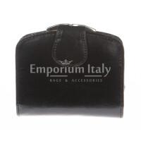 Portafoglio donna in vera pelle tradizionale SANTINI mod ANGELICA colore NERO Made in Italy.