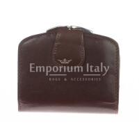 Portafoglio donna in vera pelle tradizionale SANTINI mod ANGELICA colore TESTA DI MORO Made in Italy.