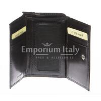 Portafoglio donna in vera pelle tradizionale SANTINI mod IBISCO colore NERO Made in Italy.