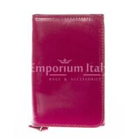Portafoglio donna in vera pelle tradizionale SANTINI mod IBISCO colore FUCSIA Made in Italy.