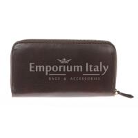 Portafoglio uomo / donna in vera pelle tradizionale SANTINI mod MUGHETTO colore TESTA DI MORO Made in Italy.