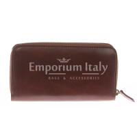 Portafoglio uomo / donna in vera pelle tradizionale SANTINI mod MUGHETTO colore MARRONE Made in Italy.