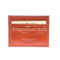 Porta tessere - carte di credito uomo / donna in vera pelle tradizionale SANTINI mod BELGIO, colore ARANCIO, Made in Italy.
