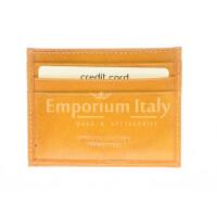 Porta tessere - carte di credito uomo / donna in vera pelle tradizionale SANTINI mod BELGIO, colore GIALLO, Made in Italy.