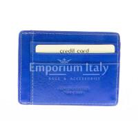 Portatessere - Carte di Credito unisex in vera pelle HONG KONG, colore BLU, EMPORIO TITANO, MADE IN ITALY