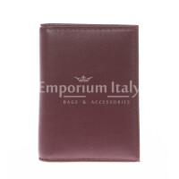 Porta tessere - carte di credito uomo / donna in vera pelle tradizionale SANTINI, mod SLOVENIA, colore BORDO, Made in Italy.