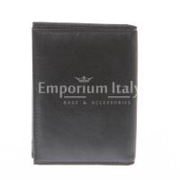 Porta tessere - carte di credito uomo / donna in vera pelle tradizionale SANTINI, mod SLOVENIA, colore NERO, Made in Italy.