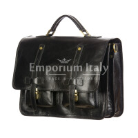 ERNESTO: cartella /borsa, zaino ufficio uomo, in cuoio, colore: NERO, Made in Italy