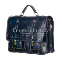 ERNESTO: cartella /borsa, zaino ufficio uomo, in cuoio, colore: BLU, Made in Italy