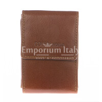 Mens wallet in genuine sauvage leather COVERI, mod ARMENIA, color BROWN, Made in Italy.