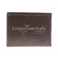 Portafoglio uomo in vera pelle sauvage SANTINI, mod LUSSEMBURGO maxi, colore TESTA DI MORO Made in Italy.