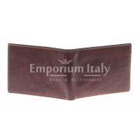 Portafoglio uomo in vera pelle sauvage SANTINI, mod LUSSEMBURGO mini, colore MARRONE Made in Italy.