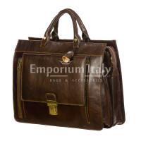 EMIDIO : cartella ufficio / borsa lavoro, uomo / donna, in cuoio, colore : TESTA MORO, Made in Italy