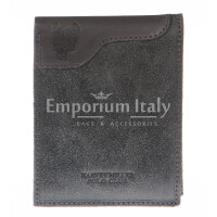 Mens wallet in genuine nubuck leather HARVEY MILLER, mod GAMAICA, color GREY, Made in Italy.