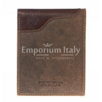 Portafoglio uomo in vera pelle nubuck HARVEY MILLER, mod GIAMAICA, colore TESTA DI MORO Made in Italy.