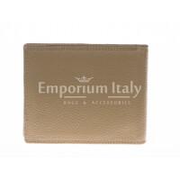 Portafoglio uomo in vera pelle tradizionale SANTINI, mod SLOVACCHIA, colore TAUPE Made in Italy.