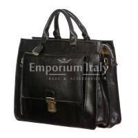 EMIDIO : cartella ufficio / borsa lavoro, uomo / donna, in cuoio, colore : NERO, Made in Italy