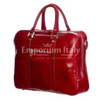 MURES : cartella ufficio / borsa lavoro, uomo - donna, in cuoio, colore: ROSSO, Made in Italy.