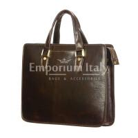 MORENO : cartella ufficio / portadocumenti, uomo - donna, in cuoio, colore : TESTA MORO, Made in Italy