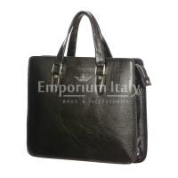 MORENO : cartella ufficio / portadocumenti, uomo - donna, in cuoio, colore : NERO, Made in Italy