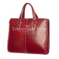 MORENO : cartella ufficio / portadocumenti, uomo - donna, in cuoio, colore : ROSSO, Made in Italy