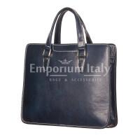 MORENO : cartella ufficio / portadocumenti, uomo - donna, in cuoio, colore : BLU, Made in Italy
