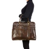 MALCO : cartella ufficio / borsa porta computer, uomo - donna, in cuoio, colore : TESTA MORO, Made in Italy.
