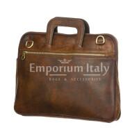 ENEA : cartella ufficio / porta PC, uomo - donna, in cuoio, colore : TESTA MORO, Made in Italy.