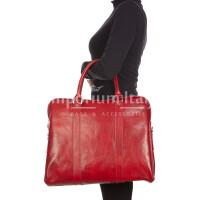 MALCO : cartella ufficio / borsa portacomputer, uomo - donna, in cuoio, colore : ROSSO, Made in Italy.