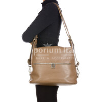 MONTE SIERRA : borsa - zaino, donna, pelle morbida, colore : TAUPE, Made in Italy