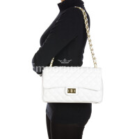 Borsa a spalla da donna in vera pelle CHARLOTTE MEDIUM, colore BIANCO, DELIA REI, MADE IN ITALY
