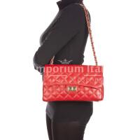 Borsa a spalla da donna in vera pelle CHARLOTTE MEDIUM, colore ROSSO, DELIA REI, MADE IN ITALY